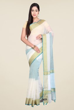 Pavecha's White & Teal Banarasi Cotton Silk Saree