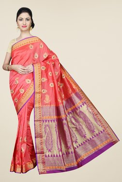 Pavecha's Coral Kanjivaram Art Silk Self Design Saree
