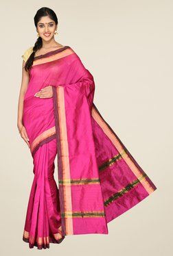 Pavecha's Pink Banarasi Solid Cotton Silk Saree