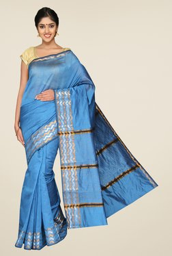Pavecha's Blue Banarasi Cotton Silk Solid Zari Saree