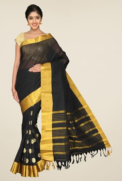 Pavecha's Black Mangalagiri Cotton Silk Printed Saree