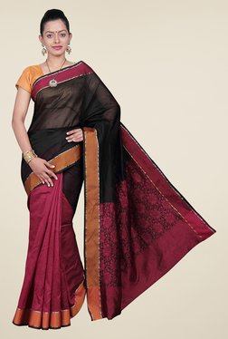 Pavecha's Maroon & Black Banarasi Cotton Silk Saree