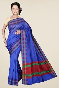 Pavecha's Blue Banarasi Cotton Silk Solid Saree