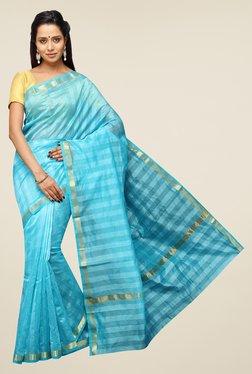 Pavecha's Blue Banarasi Cotton Silk Striped Zari Saree