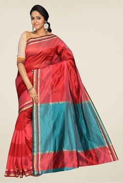 Pavecha's Red & Blue Banarasi Cotton Silk Saree