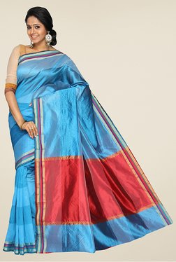 Pavecha's Blue & Red Banarasi Cotton Silk Saree