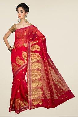 Pavecha's Red Banarasi Cotton Silk Polka Booti Saree