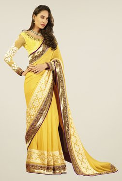 Touch Trends Yellow Embroidered Saree