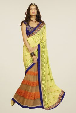 Touch Trends Yellow & Beige Embroidered Saree