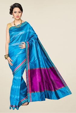 Pavecha's Blue & Magenta Banarasi Cotton Silk Saree