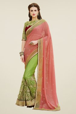 Touch Trends Peach & Green Embroidered Saree