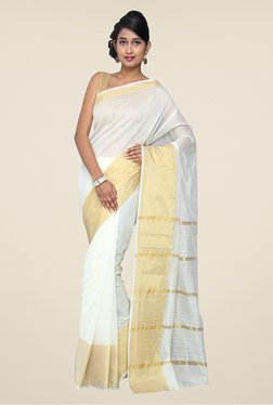Pavecha's White & Gold Banarasi Cotton Silk Saree