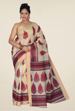 Pavecha's Beige & Maroon Mangalagiri Cotton Saree