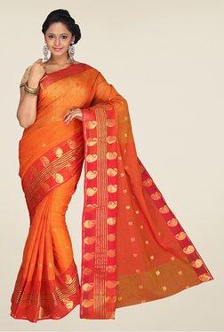 Pavecha's Orange Banarasi Cotton Silk Saree