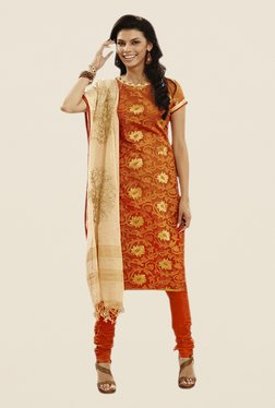 Touch Trends Orange Floral Print Dress Material