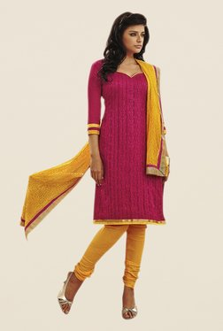Touch Trends Magenta & Yellow Printed Dress Material