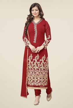 Fabfella Red Embroidered Faux Georgette Dress Material