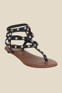 Catwalk Black & Golden Gladiator Sandals