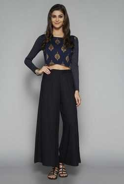 Bombay Paisley by Westside Navy Printed Crop Top