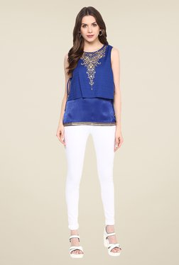 Fusion Beats Blue Round Neck Printed Top
