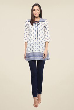 Fusion Beats Off White Printed Tunic