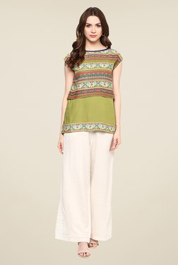 Fusion Beats Green Round Neck Printed Top