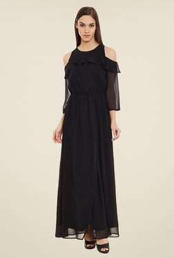 Femella Black Cold Shoulder Maxi Dress
