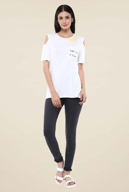 Femella White Cold Shoulder Sunshine T Shirt