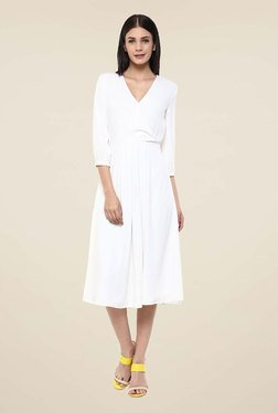 Femella White Front Wrap Midi Dress