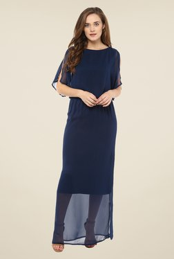 Femella Navy Solid Maxi Dress