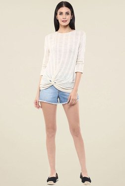 Femella Off White Side Knot Top
