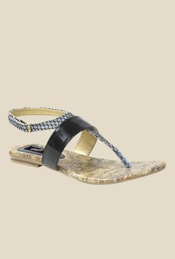 Gisole Ketty Black T-Strap Sandals