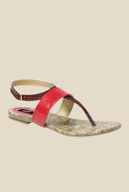 Gisole Ketty Red T-Strap Sandals