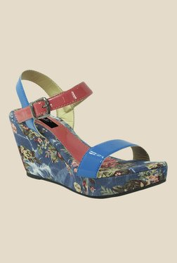 Gisole Miley Blue & Red Ankle Strap Wedges