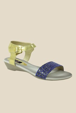 Gisole Christina Blue & Golden Ankle Strap Wedges
