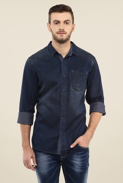 Spykar Navy Solid Shirt