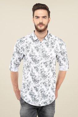 Spykar White & Grey Floral Print Shirt