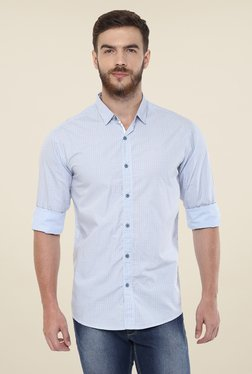 Spykar Light Blue Printed Shirt