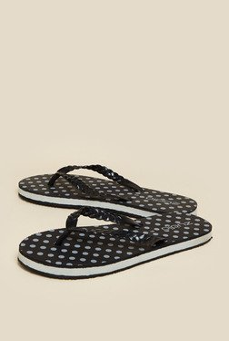 Zudio Black Polka Dot Flip Flops