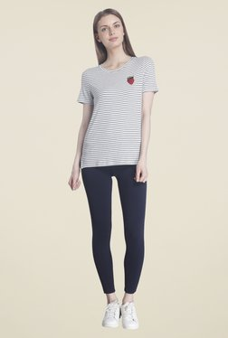 Only White Striped T Shirt
