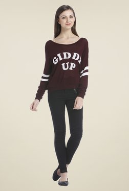 Only Maroon Printed Top