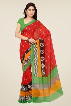 Triveni Red Printed Art Silk Saree