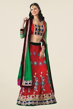 Triveni Red & Green Embroidered Full Sleeve Lehenga Set