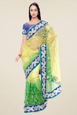 Triveni Yellow & Green Embroidered Saree