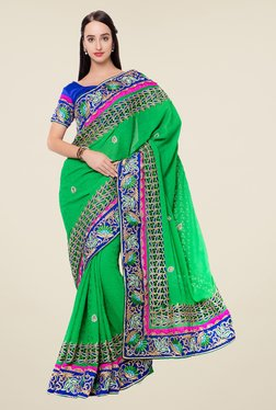 Triveni Green Embroidered Banarasi Silk Jacquard Saree