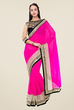 Triveni Pink Embroidered Lace Georgette Saree