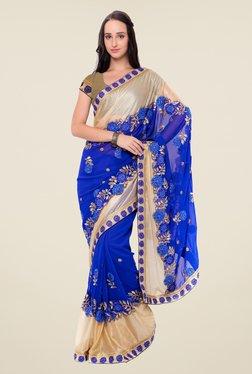 Triveni Blue Embroidered Georgette Lycra Saree