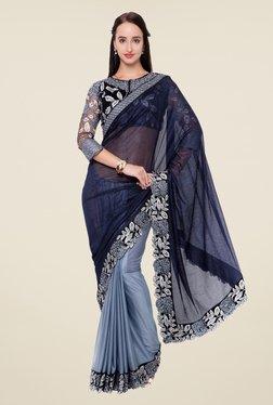 Triveni Grey & Black Embroidered Lycra Saree