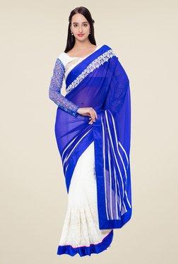 Triveni White & Blue Embroidered Faux Georgette Saree