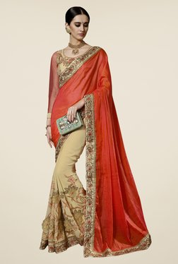 Triveni Beige & Orange Embroidered Saree